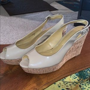 Nine West tan wedges - worn once only.